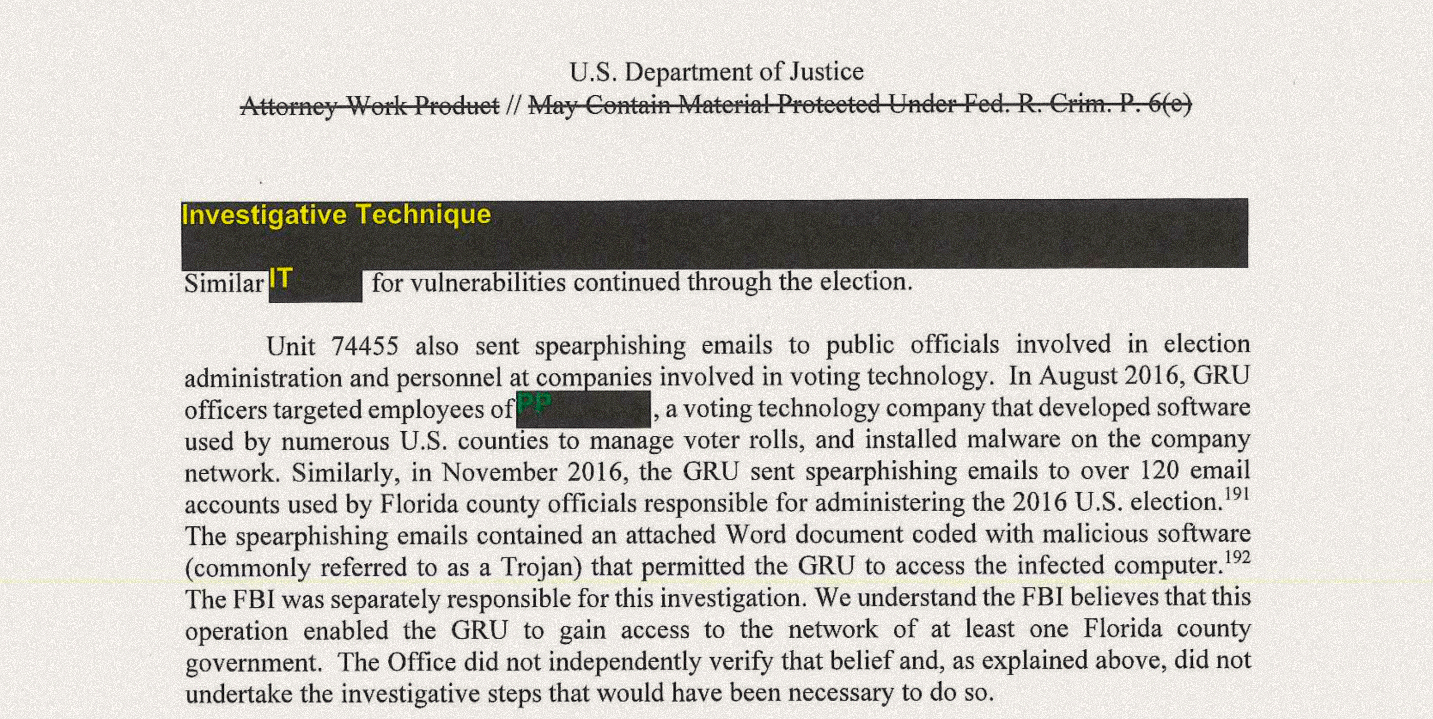 Mueller Report: Russians Used Spear Phishing, SQL Injection to Penetrate US Election Administration